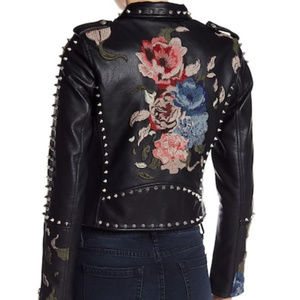 Studded Embroiderd Faux Vegan Leather Moto Jacket